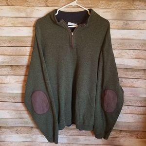 Cremieux Mens 1/4 Zip Sweater Sz 3XB EUC Patches